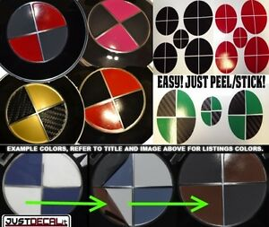 Sticker Overlay 2 Color Set Custom Hood Trunk Rim Center Cap Red Fits Bmw Emblem