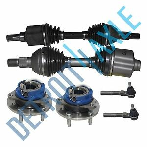 2 Front Cv Axle Shafts 2 New Wheel Hub And Bearing Assembly 2 Outer Tie Rods