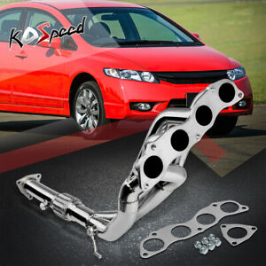 For Stainless Tri y Exhaust Header downpipe Civic Si 2 0 4cyl K20z3 Fg2 Fd4 Fd3