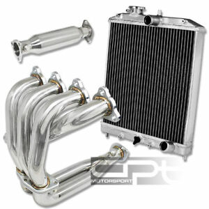 Civic Del Sol D15 D16 Stainless Exhaust Header Test Cat Pipe 2 Two Row Radiator