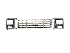 Bundle For 82 86 Ford Pickup Bronco Grille Argent Headlight Door Bezel 3pcs