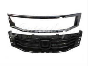 For 2008 2010 Honda Accord Sedan Grille Black Grille Moulding Chrome Frame 2p