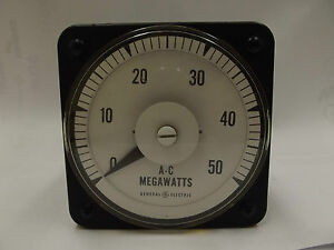 General Electric 5a 120v A c Megawatts Panel Board Meter