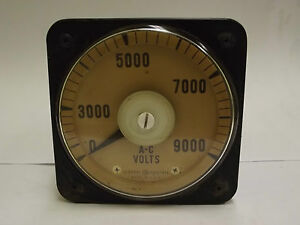 8ab18a7ak1 General Electric 0 9000 A c Volts Voltmeter Panel Board Meter