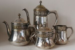 Antique Art Nouveau Jugendstil 4 Piece Pewter Coffee Service By Orivit C 1910s