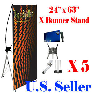 5 Pcs X Banner Stand 24 X 63 W Free Bag Trade Show Display Banner X banner