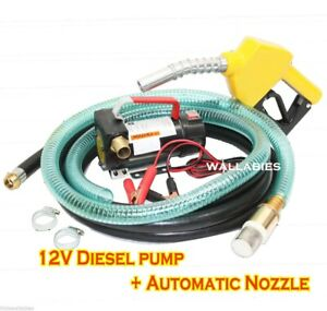 New 12v Diesel Fuel Transfer Pump 11 Gmp W Automatic Nozzle 12 Hose