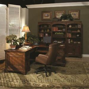 Old World L shaped Home Office Computer Desk And Return Wood Furniture Online