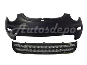 For 1998 New Beetle Front Bumper Cover Blk Grille Valance Spoiler W O Fog Hole 3