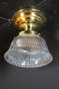 Industrial Ceiling Mount Light Fixture W Holophane Shade Polished Fitter 5597