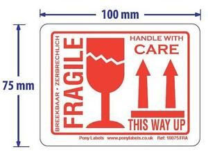 100 White Fragile This Way Up Handle With Care Stickers Labels 4 x3 White Red