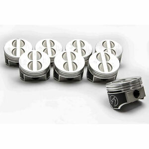 Speed Pro trw Chevy 350 5 7 Forged Flat Top Coated Skirt Pistons Set 8 040