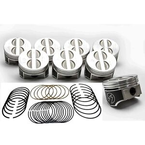 Speed Pro trw Chevy 350 5 7 Forged Flat Top Coated Skirt Pistons moly Rings 20