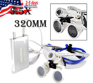 Dental Headlight Led Lamp Surgical Medical Binocular Loupes 3 5 320mm Silver