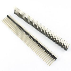 100pcs 2 54mm Male 2x40 Pin Straight Double Row Pin Header Strip Length 17mm