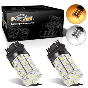 3157 Dual Color Switchback White Amber 60 Smd Led Turn Signal Corner Light Bulbs