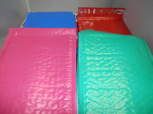 100 Multi Color 6x9 Self Adhesive Bubble Mailers Hot Pink Teal Blue And Red 0