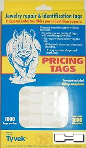 1000 Tyvek Sq Dumbell Ring Price Pricing Tag Jewelry Repair Id Tag W free Pen