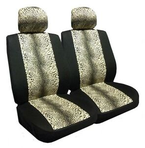 Leopard Low Back Bucket Seat Covers Pair Black