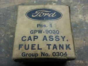Jeep Gpw Fuel Tank Cap Assembly Early Nos Original Packaging f Marked G503