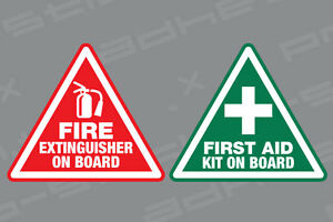 First Aid Fire Extinguisher On Board Stickers Vinyl Decals