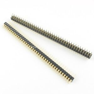 50pcs 2 54mm Male 2x40 Pin Straight Double Row Round Pin Header Strip