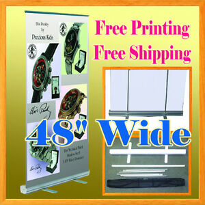 47 Retractable Roll Up Banner Stand Free Graphic Printing 48 Aluminum Housing