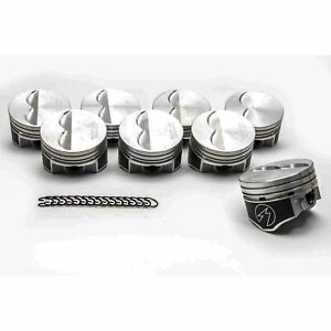 Speed Pro Chevy 350 Hypereutectic Flat Top 2vr Pistons moly Rings 9 7 1 060