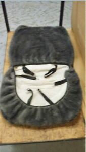 Universal Low Back Bucket Sheepskin Seat Cover Silver Lt Grey Color