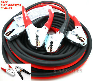 Heavy Duty 25 Ft 2 Gauge Booster Cable Jumping Cables Power Jumper 600amp
