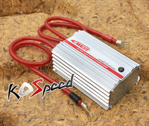 Universal Silver Power Car Battery Voltage Stabilizer Regulator W Wire Cable Jdm