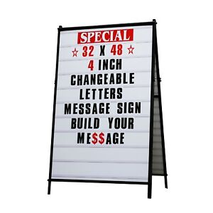 32 x 48 A Frame Changeable Letters Message Sidewalk Sign With 4 Letters Set