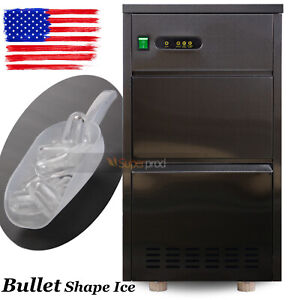 120lbs day Large Commercial Stainless Steel Ice Maker Auto Bullet Machine 110v