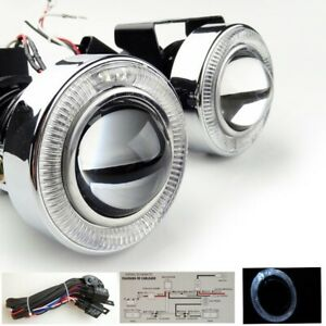 Universal 3 White Angel Eyes Bumper Projector Round Fog Light Lamp Hid Ready