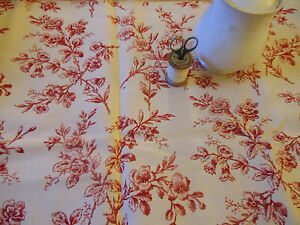 Antique French Floral Toile Fabric Red Cream Pillows Totes Projects