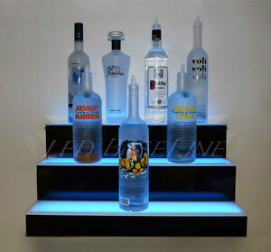 28 3 step Wall mount Led Lighted Bar Shelf Home bar Liquor Bottle Display Rack