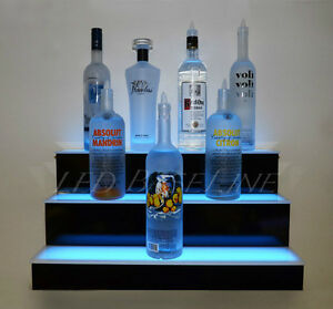 36 Led Lighted Shelf 3 Tier Wall mounted Home bar Liquor Bottle Display Rack