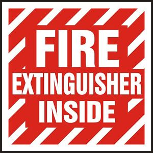 Fire Extinguisher Inside Reflective Sticker 4 X 4 Screen Printed 12 Pack