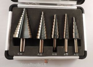 New 5pc Step Drill Set Cobalt Coating Metric