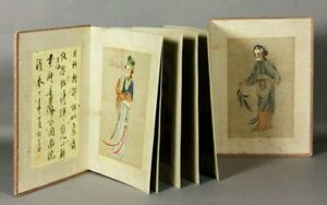 Vintage Chinese Painting Album 6 Water Color Of Beautiful Women