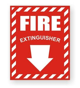 Fire Extinguisher Safety Decal Sticker Industrial Compliance Sign Label Arrow