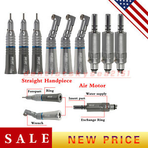 3x Dental Slow Low Speed Handpiece Straight Contra Angle Air Motor E type 4 h Us