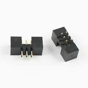 500pcs 2mm 2x3 Pin 6 Pin Straight Male Shrouded Pcb Box Header Idc Connector