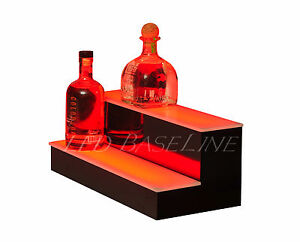 19 2 Tier Step Led Lighted Back Bar Liquor Bottle Shelf Glowing Display Stand