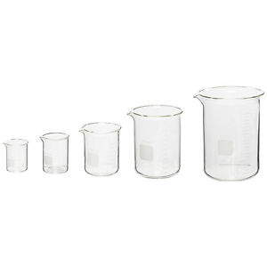 Corning Pyrex 5 Piece Glass Graduated Low Form Griffin Beaker Chemistry Lab Ware
