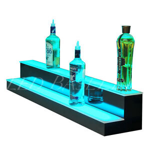 41 2 Step Led Lighted Back Bar Liquor Bottle Display Shelf Rack Glowing Home