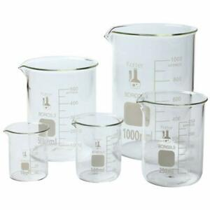 set Of 5 Pyrex Griffin Low Form Corning Beaker Set Chemistry Glassware New