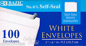 100 Peel And Self seal White Letter Mailing Envelopes Shipping 3 5 8 X 6 1 2
