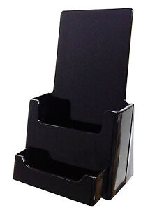 10 Black Tri Fold Literature Brochure Holder For 4x9 Fast Shipping