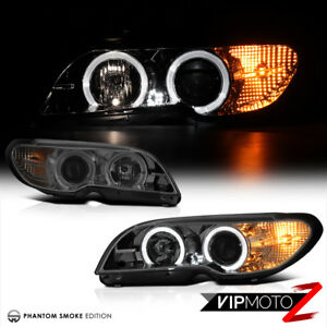 04 05 Bmw E46 3 Series Coupe Phantom Smoke Dual Halo Projector Headlight Lamp
